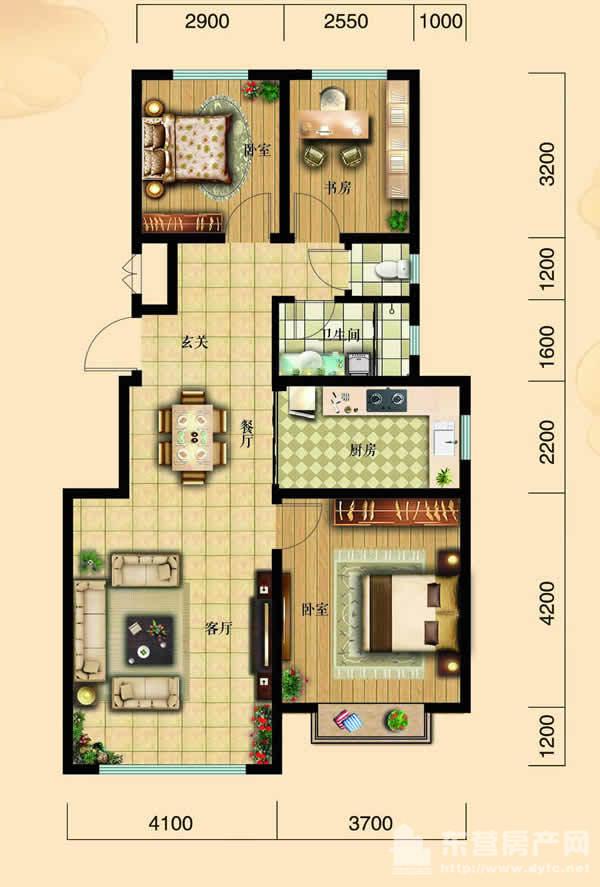 102平米三室两厅一卫户型图