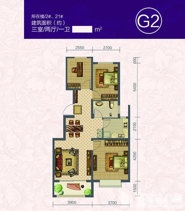 推荐户型:106平米三室两厅一卫