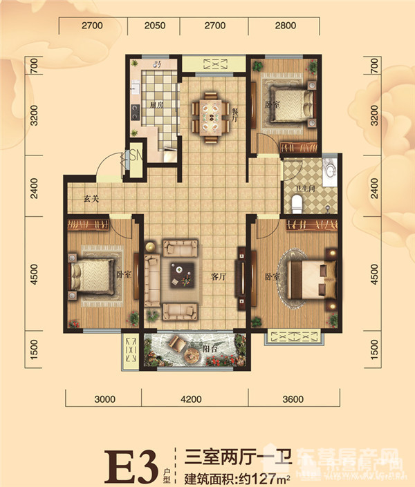 建筑面积约127m三室两厅一卫户型图