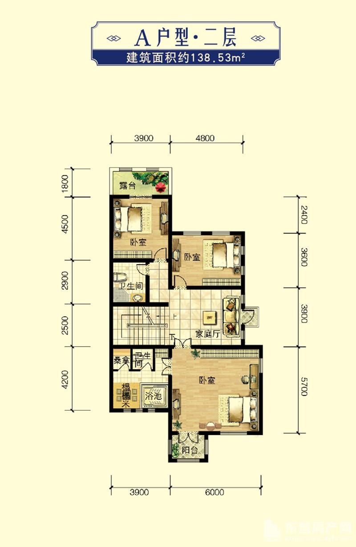 2期中区双拼别墅A户型约502.96㎡二层