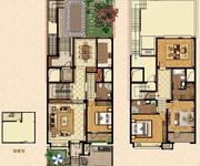 叠拼别墅 1-2层 中间户 218㎡户型