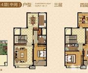 叠拼别墅 3-4层 中间户 242㎡户型