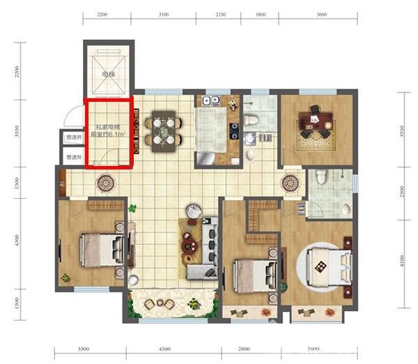 163户型四室两厅两卫玄关.jpg