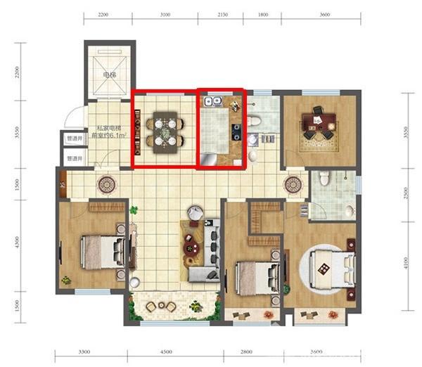 163户型四室两厅两卫餐厅和厨房.jpg