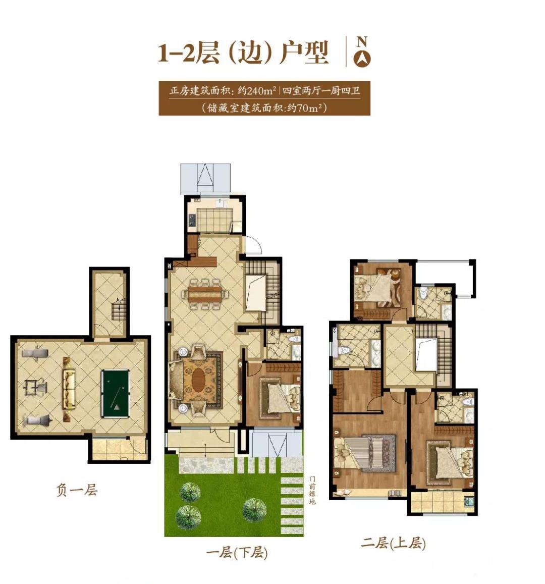 1#、4#、5#楼 1-2层边户户型 240㎡ 4室2厅1厨4卫