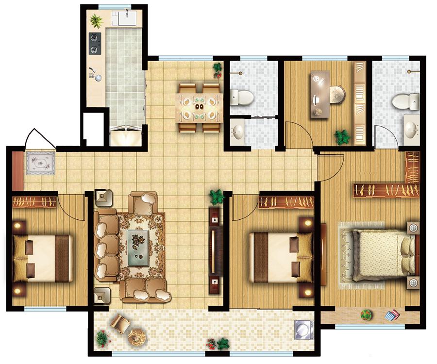 舒馨户型 4室2厅2卫 145㎡